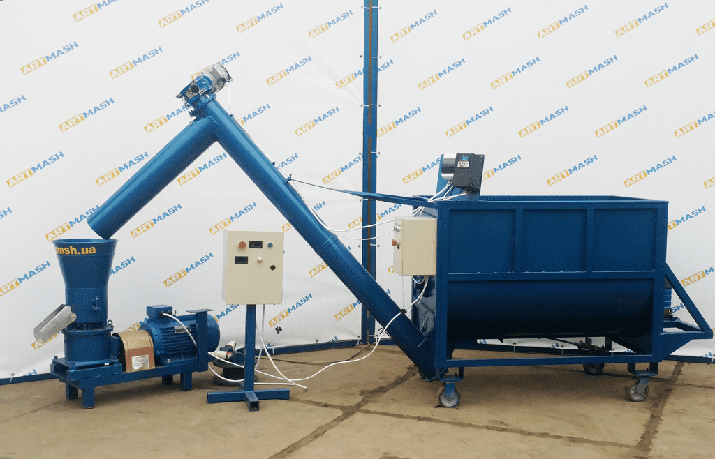 Granulator 7.5 with chastotnik and auger mixer 0.6 cubic meters